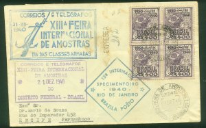 Brazil CIRCULATED COVER WITH BLOCK OF FOUR, VARIOUS CACHETS..F.  (6)