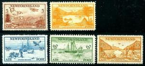 HERRICKSTAMP NEWFOUNDLAND Sc.# C13-17 1933 Scenes NH