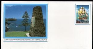 Norfolk Island Cook Monument - Duncombe Bay Postal Stationery Envelope Mint #...