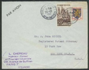 FRANCE 1952 airmail cover Paris to USA.....................................81509