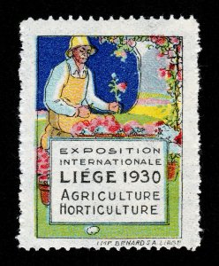 POSTER STAMP EXPOSITION INTERNATIONALE LIEGE 1930 AGRICULTURE HORTICULTURE