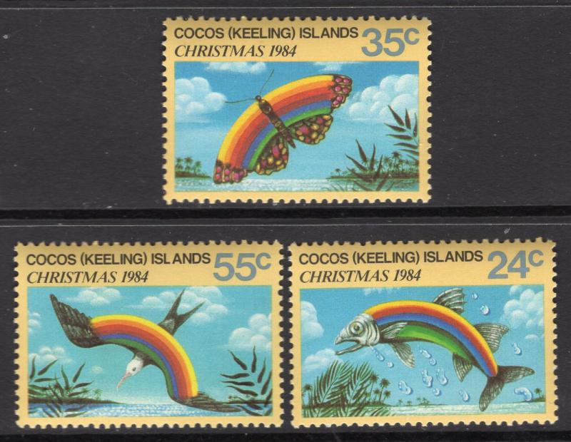 Cocos Island MNH 122-4 Christmas Rainbow Fish Bird Butterfly 1984
