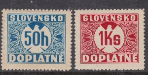 SLOVAKIA ( German Occupation)^^^^BOB  sc# J9(LH)+ J8(MNH) dues $$@ta1355slova