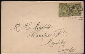 GB 1910 COVER - 2 EVII ½d stationery cutouts used for postage to Canada....44628