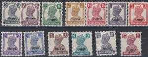 INDIA  NABHA 1940 - 43   S G 105 - 117   SET OF 13      MH  CAT £75