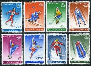 Romania 3487-3494,MNH.Mi 4418-4425. Olympics Calgary-1988.Biathlon,Slalom,Hockey