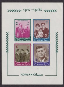 Ajman # 26 (footnote) John F. Kennedy, Imperf Souvenir Sheet,  NH, 1/2 Cat.