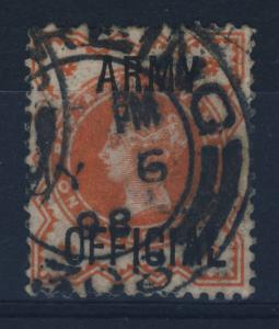 GB - QV - 1898 - ARMY OFFICIAL 1/2d VERMILION SG O43 CANCELLED STIRLING CDS