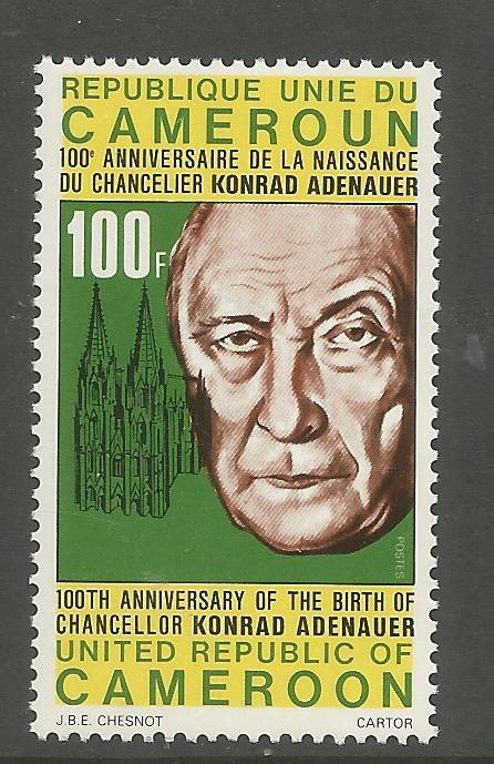 CAMEROUN  624  MNH,  KONRAD ADENAUER, GERMAN CHANCELLOR, COLOGNE CATHEDRAL