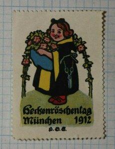 Rose Gardener Shears Munich Germany 1912 German Brand Poster Stamp Ads