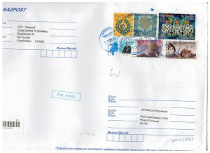 Kazakhstan 2020 Registered Cover to Poland Stamps Space Astronauts Animals War
