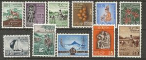 CEYLON  346-356   MINT HINGED,  TYPES OF 1950-1954 REDRAWN