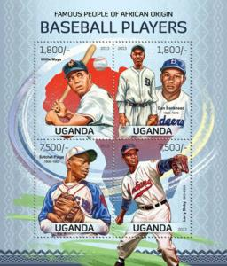 Uganda - Baseball Players - Mays, Paige, Doby - 4 Stamp Sheet 21D-102