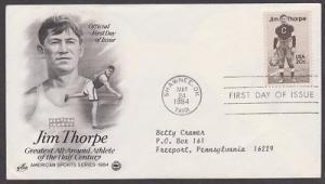 2089 Jim Thorpe ArtCraft FDC with neatly typewritten address