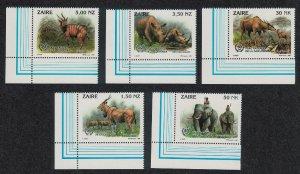 Zaire Elephant Rhino Kudu Wild Animals 5v Buzin Corners SG#1412-1416