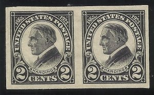 611 2c Imperf Pair MLH VF Centering