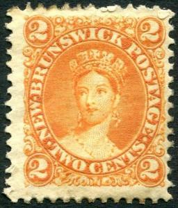 NEW BRUNSWICK-1860-3 2d Orange Sg 10  AVERAGE MOUNTED MINT V28596