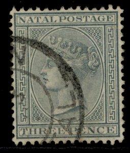 SOUTH AFRICA - Natal QV SG101, 3d grey, FINE USED. WMK CA