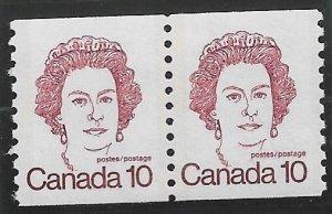 1976 Canada 605  10p Queen Elizabeth MNH coil pair