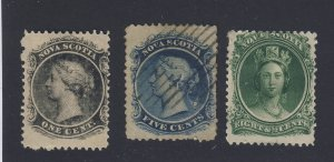 3x Nova Scotia Stamps #8-1c MH F/VF #10-5c U F/VF #11-MH F Guide Value = $26.50