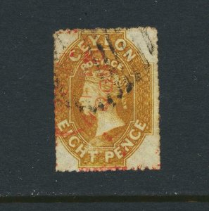 CEYLON 1861-4, 8d YELLOW BROWN, VF USED SG#32a CAT£425 (SEE BELOW)