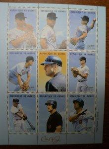 Baseball Stamp - Cal Ripkin Jr Souvenir Sheet 9 stamps - MNH - Guinea