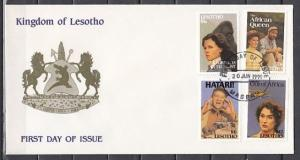 Lesotho, Scott cat. 820-823 only. African Films, Cinema Stars. First day Cover.