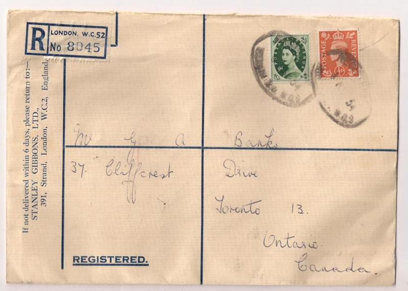 Stanley Gibbons mailing w/ #303 to Canada & #295 as revenue