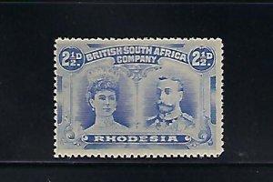 RHODESIA SCOTT #104 1910 DOUBLE HEAD 2 1/2D -DULL BLUE-PERF 14-MINT NEVER HINGED
