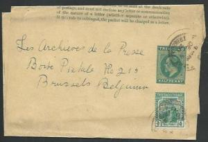 TRINIDAD 1920 Late use EVII ½d wrapper uprated ½d used to Belgium..........62076