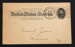 US Postal Card Sc# UX10 Used With Preprinted Reverse Warrensburgh N.Y. CDS.