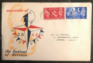 1951 London England First Day Cover Souvenir Festival Of Britain Locally Used