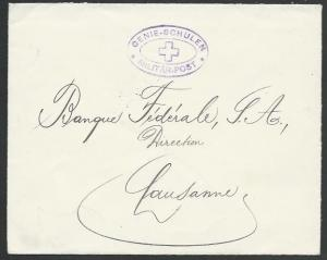 SWITZERLAND 1915 Military cover to Lausanne - GENIE-SCHULEN................58382