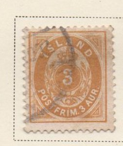 Iceland Sc 21 1892 3 aur orange arms stamp used
