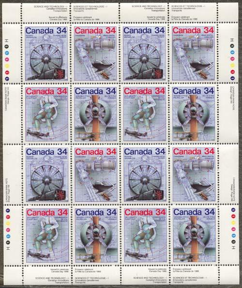 Canada - 1986 Science & Technology Mint Imprint Pane #1102a - VF-NH