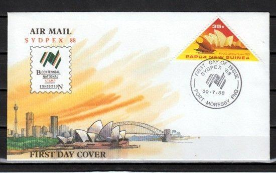Papua New Guinea, Scott cat. 695. Sydpex 88 issue. First day cover. Opera House.