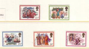 Great Britain Sc 1006-10 1982 Christmas stamp set mint NH