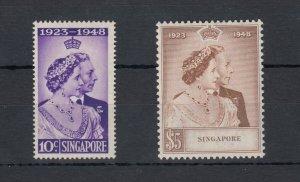 Malaya Singapore KGVI 1948 Silver Wedding Set SG31/32 MVLH J7571