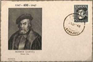 90062 - SPAIN -  MAXIMUM CARD 1948 - Hernan CORTES Conquistador of MEXICO