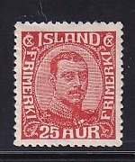 Iceland    #121  MH   1921  Christian X   25a  red