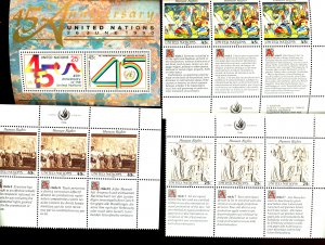 UNITED NATIONS #571, 579, 582, 583 SET OF 4 BLOCKS SOVENIR SHEETS MNH