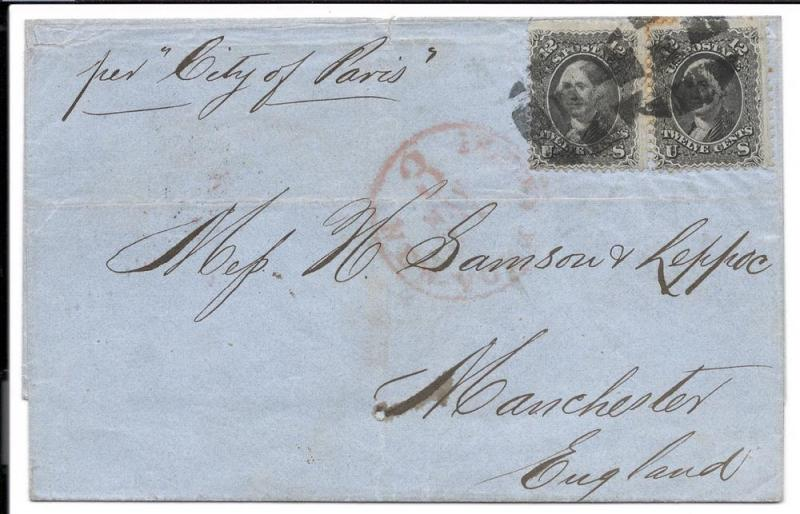 US#69 Gray Black - Pair on Cover to England