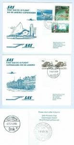Denmark Copenhagen-Rio De Janeiro. 2 First Flight Cover DC-10. SAS 1979.