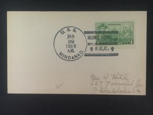 1938 US Navy Post Office Hong Kong China Cover to Philadelphia USA USS Mindinao