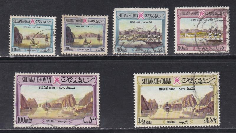 Oman # 140, 142, 144-145, 147 & 149, View of Muscat, Used, 1/3 Cat.
