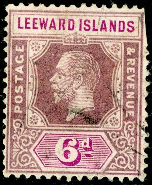 LEEWARD ISLANDS SG72, 6d Dull & Bright Purple, USED. Cat £35.