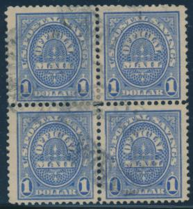 #O123 $1 OFFICIAL BLOCK OF 4 VF+ USED BU7471