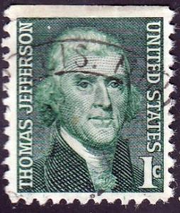U.S. #1278 Jefferson, Used. Crease