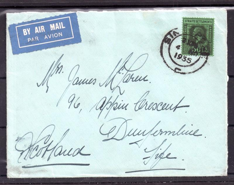 Straits Settlements 1935 KGV Airmail Cover to UK WS6860