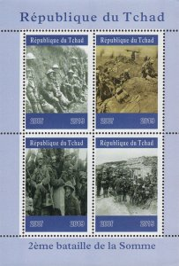 Chad 2019 Battle of Somme First World War 4v Mint Souvenir Sheet S/S. (#118)